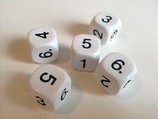 5 pack of 16mm 6 Sided Number Dice Roleplay Games - Numeracy Maths Resource D086