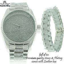 New Men's Hip Hop Watch Set New Designer Style Elegant Look Watch & Bracelet RHD