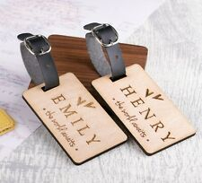 2pcs Personalised Wooden Luggage Tags Mr and Mrs Hearts Custom Tags