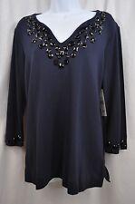 Sutton Studio Navy w/Black Embellishment Neckline & Cuffs Top Size L MSRP $58