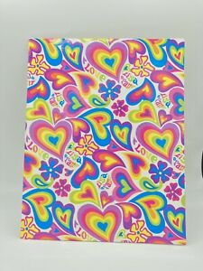 NEW 2004 Lisa Frank Hearts Retro Pocket Folder for 3 Ring Binder LOVE folder