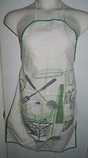 Vintage Mid Century Gray Green Salad Kitchen Cotton Blend Apron