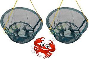 SET 2 CRAB DROP NETS FAMILY KIDS SAFE CRABBING FISHING BAIT CLIP ROPE LINE TRAP