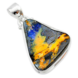 14.14cts Natural Brown Boulder Opal 925 Sterling Silver Pendant Jewelry T22357
