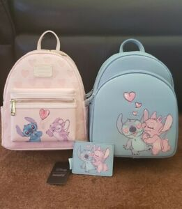 LOUNGEFLY DISNEY STITCH and ANGEL HEART MINI BACKPACK SET NWT IN HANDS!!!!