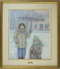 Denise Poirier Canadian Quebec Listed Vintage Original Oil Children Portrait