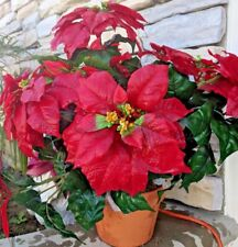 Nearly Natural Poinsettia with Ceramic Vase Silk Flower Arrangement- Red