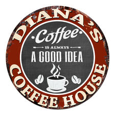 CPCH-0096 DIANA'S COFFEE HOUSE Chic Tin Sign Decor Gift Ideas