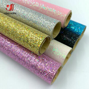 Self Adhesive Fine Diamond Glitter Fabric Faux Leather Vinyl Bows Craft Material