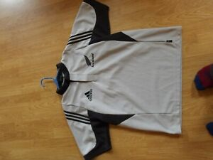 adidas New Zealand All Blacks gray rugby shirt away size Large
