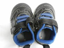 HealthTex Boy's Black and Blue Strap Shoes Size 2