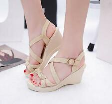 Womens Slingback Wedge High Heels Platform Buckle Sandals Open Toe Beach Shoes