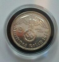 RARE! Third Reich 2 Reichsmark Silver Coin 1938 B WW2 29mm 13.9 Grams 90% Silver