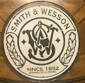 "~Smith & Wesson Since 1852~ 12"" Round Metal Sign ~ Springfield, Mass Ammo Gun"