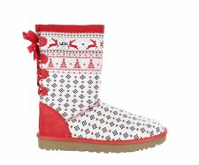 UGG Womens Holiday Sweater White Fashion Boots Size 9 (1342808)
