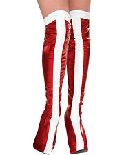 Morris Costumes Women's Wonder Woman Strpe Boot Tops Red/White One Size. RU32217