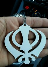 Small White Acrylic Khanda Punjabi Sikh Pendant Car Rear Mirror Hanging in Chain