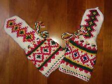 Norwegian Nordic Fair Isle Knit Wool Pointed Mittens Child Boy Girl Vtg Handmade