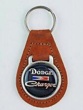 Vintage Dodge Charger leather keychain keyring metal back Red/Orange