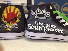 FIVE FINGER DEATH PUNCH HAND PAINTED HIGH TOP SHOES CUSTOMISED TO ORDER