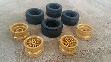 Lego Parts Pieces Wheel Gold #56145 & Tire 43.2mm D. x 22mm ZR SET 4
