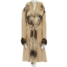 ROBERTO CAVALLI beige suede shearling lined silver fox trimmed belted coat IT38