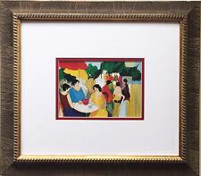 """ITZCHAK TARKAY """"In The Garden"""" LITHOGRAPH Custom FRAMED Art OUT OF PRINT Israeli"""