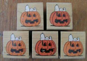 Peanuts Halloween Snoopy Pumpkin Rubber Stampede Wood Stamp A441C