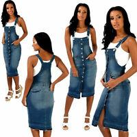 Womens Denim Dungaree Dress Ladies Jean Pinafore Stretchy Skirt Blue Sizes 8 -18