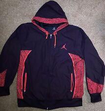 Vintage Men's Xl Air Jordan Hot Pink Black Elephant print jacket hooded full zip