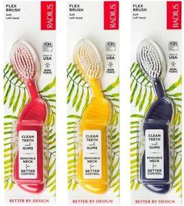 Radius Toothbrush Flex Brush, Left Hand - 3 Pack in Assorted Colors, BPA Free