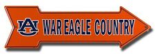 "Auburn Tigers War Eagle Country 20"" x 6"" Embossed Metal Arrow Sign"