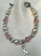 PINK ROSE SWAROVSKI CRYSTAL PEARL Bracelet Breast CANCER CHARM S925 Beads NEW
