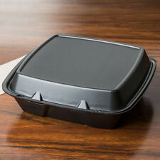 """(100-Pack) 9"""" x 9"""" x 3"""" Black Foam Square Take Out Containers with Hinged Lid"""