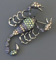 Scorpion  with movable Tail brooch  pin in silver tone metal with crystals