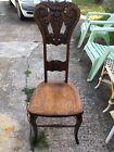 Vintage Circa 1900 solid Oak Carved North Wind High Back Chair Ornate
