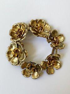 40g Large Vintage Hallmarked 925 3D Silver Flower Bracelet