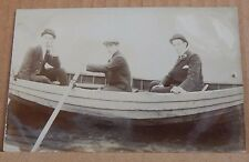 Postcard 3 Well Dressed Men in Rowing Boat Real Photo Unposted