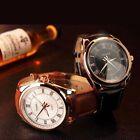 Luxury Men's Stainless Steel Date Quartz Watches Leather Waterproof Wrist Watch