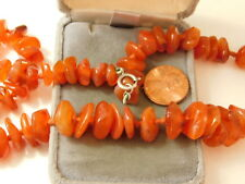 """Chunky Polished Red Carnelian Agate pebble Knotted Bead Strand 25"""" Necklace 12e3"""