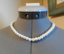 "New WHITE PEARL Choker Strand String Necklace 16"" Fashion Jewelry Heavy glass"