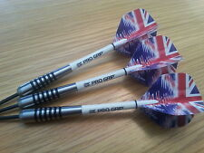 28g Tungsten UNION JACK RIPPLE BOMBER Darts Set,Target Progrips & Ripple Flights