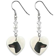 Manchester Terrier 925 Sterling Silver Heart Mother Of Pearl Hook Earrings Ep100