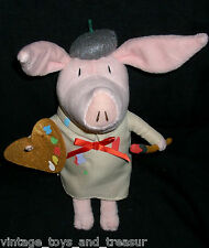 "9"" OLIVIA THE PIG ARTIST PAINT BRUSH NICK JR STUFFED ANIMAL PLUSH TOY DOLL PINK"