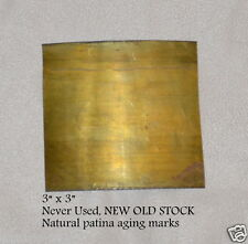 """BRASS Sheet Tooling Foil Findings two 3""""x""""3""""x.005 5mil 36 gauge Patina Steampunk"""