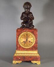 Horloge de cheminée en bronze et marbre France 19ème circa 1840 50 cm garçon