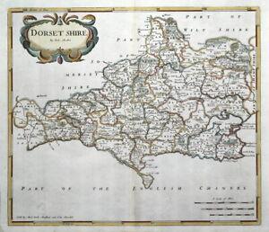 DORSET, DORSET SHIRE, Robert Morden, original antique hand coloured map 1722