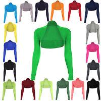 JUSTYOUROUTFIT Womens Shrug Cropped Viscose Long Sleeve Bolero Top Sizes UK 8-14