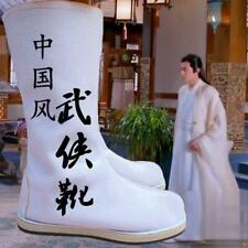 Mens Cosplay Hanfu  Swordsman Boots  Mid-Calf  Flats Shoes Solid color Chinese