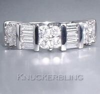 1.00ct H VS2 Baguette and Brilliant Cut Diamond and Chunky 18ct White Gold Ring